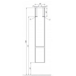 Шкаф-колонна Акватон Капри правая таксония темная 1A230503KPDBR