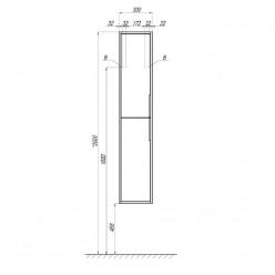 Шкаф-колонна Акватон Рико белый/ясень фабрик 1A216603RIB90