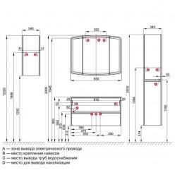 Шкаф-колонна Акватон Астера правый белый глянец 1A195403AS01R