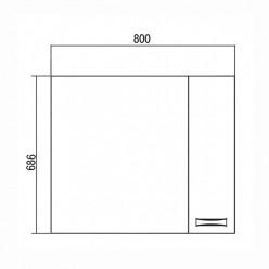 Зеркальный шкаф Акватон ДИОР 80 белый 1A168002DR01R