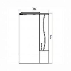 Зеркальный шкаф Акватон ДИОНИС 67 М правое 1A008002DS01R
