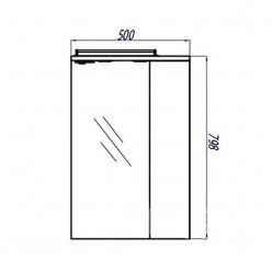 Зеркальный шкаф Акватон ПАНДА 50 правое 1A007402PD01R
