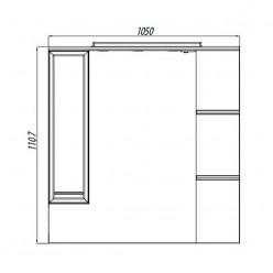 Зеркальный шкаф Акватон ЭМИЛИ 105 левый 1A008602EM01L