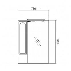 Зеркальный шкаф Акватон МАЙАМИ 75 левый 1A047502MM01L