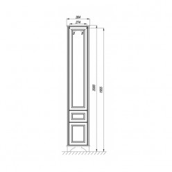 Шкаф-колонна Акватон ИДЕЛЬ дуб белый 1A198003IDM7R правый